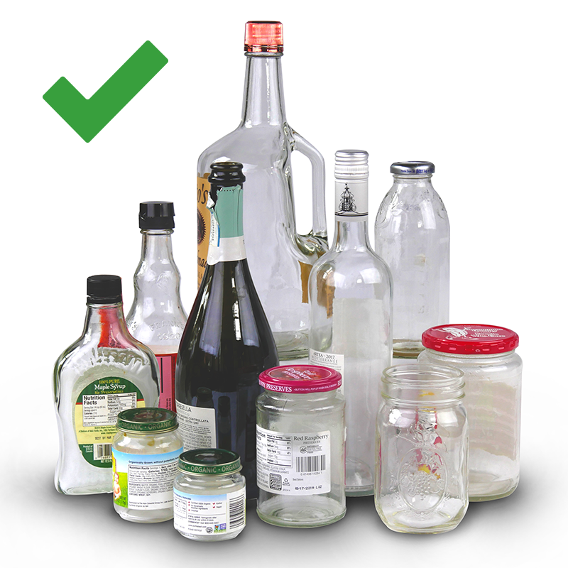 Image shows different types of glass bottles and jars