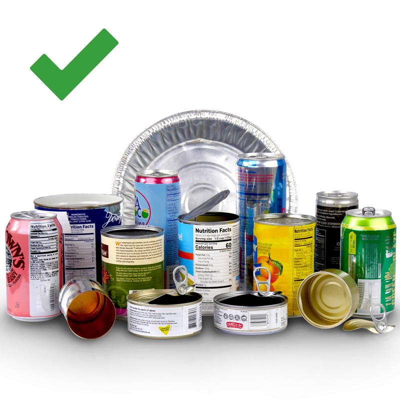 Image shows different types of metal cans