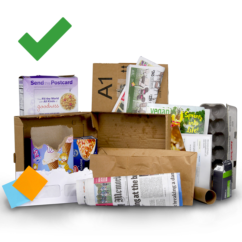 Image shows different types of paper and cardboard