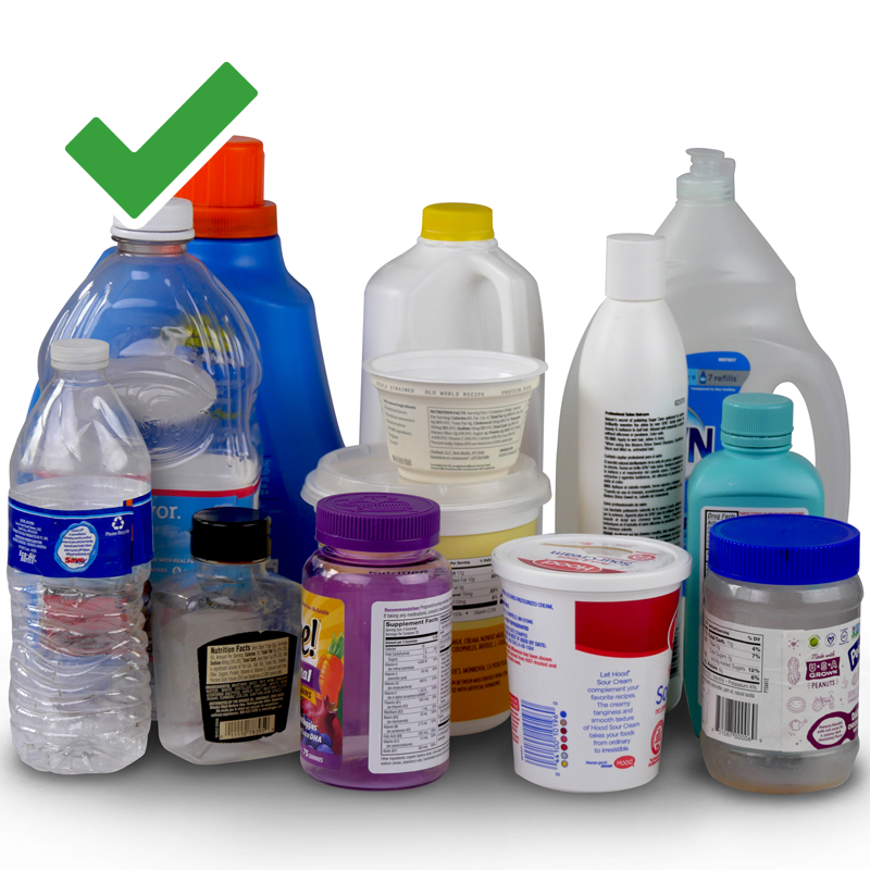 Image shows different types of plastic bottles